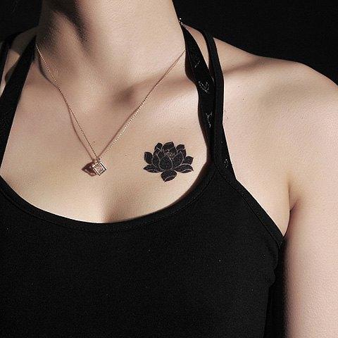Lotus Flower Collarbone Tattoo