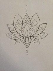 simple black outline lotus flower