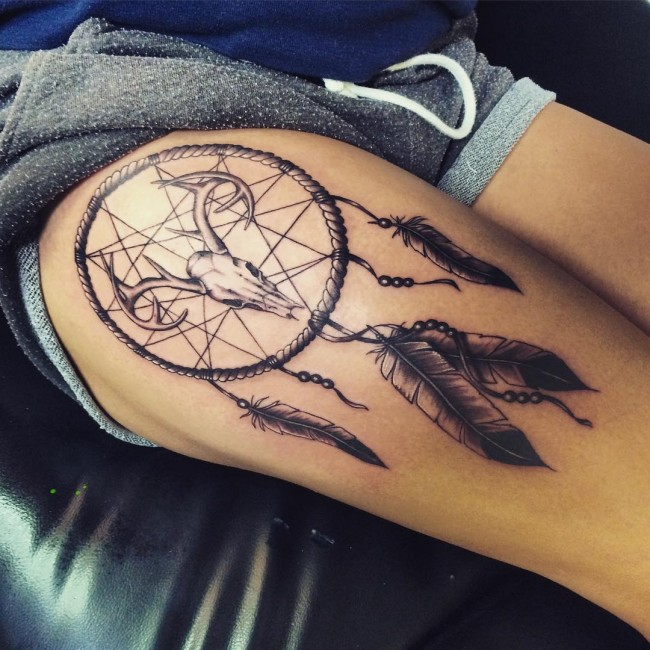 Dream Catcher Tattoo On Upper Thigh