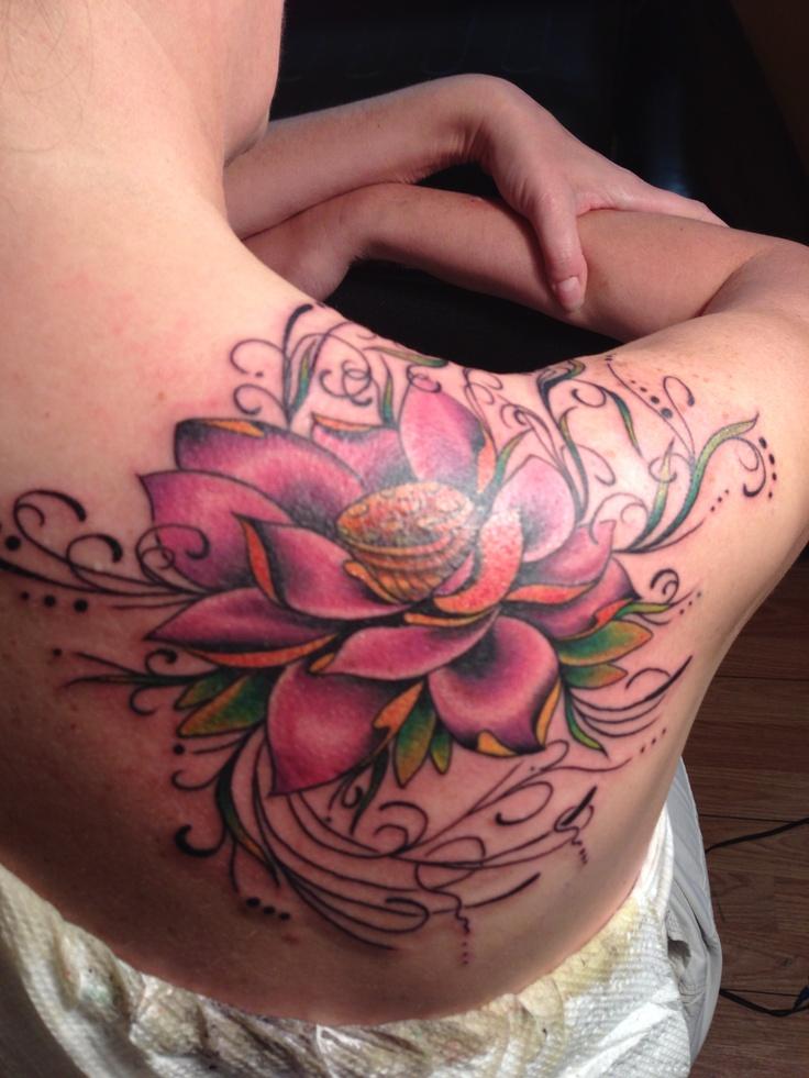 Back Lotus Tattoos Shoulder