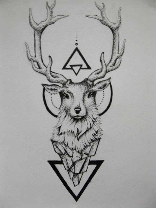 Deer Tattoo Designs Drawings