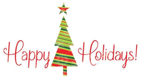 happy holidays christmas tree clipart