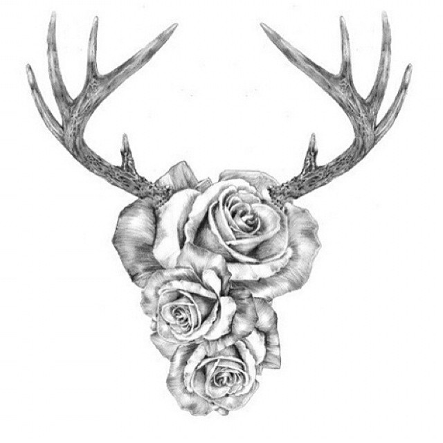 Roses With Deer Horns Tattoo Design