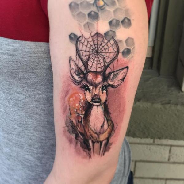 Deer Watercolor Tattoo