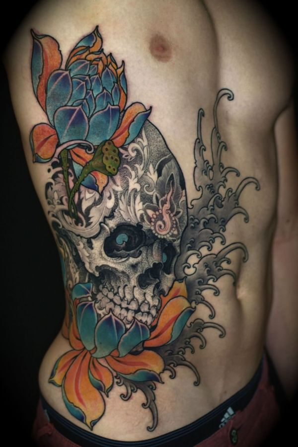 flying birds and sugar skull tattoo