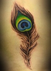 colorful peacock feather tattoos