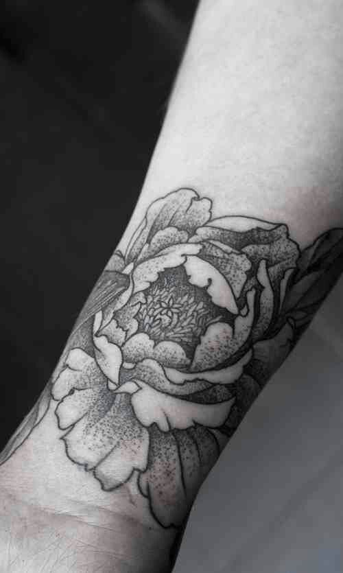 Black And White Peony Flower Tattoo On Wrist
