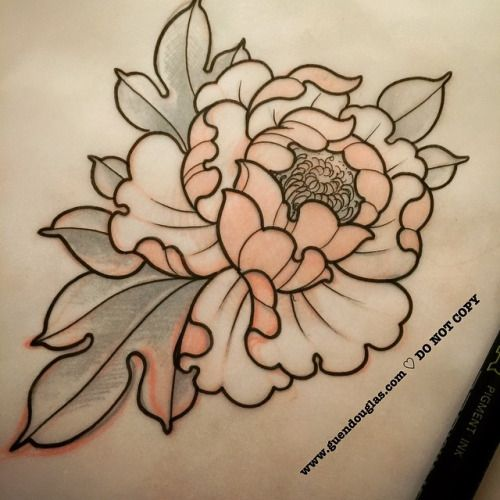 Outline Peony Flower Tattoo Designs