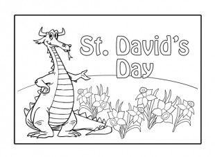 Saint David's Day Dragon Coloring Page