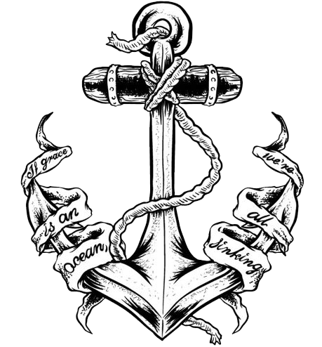 black ink anchor with banner tattoo