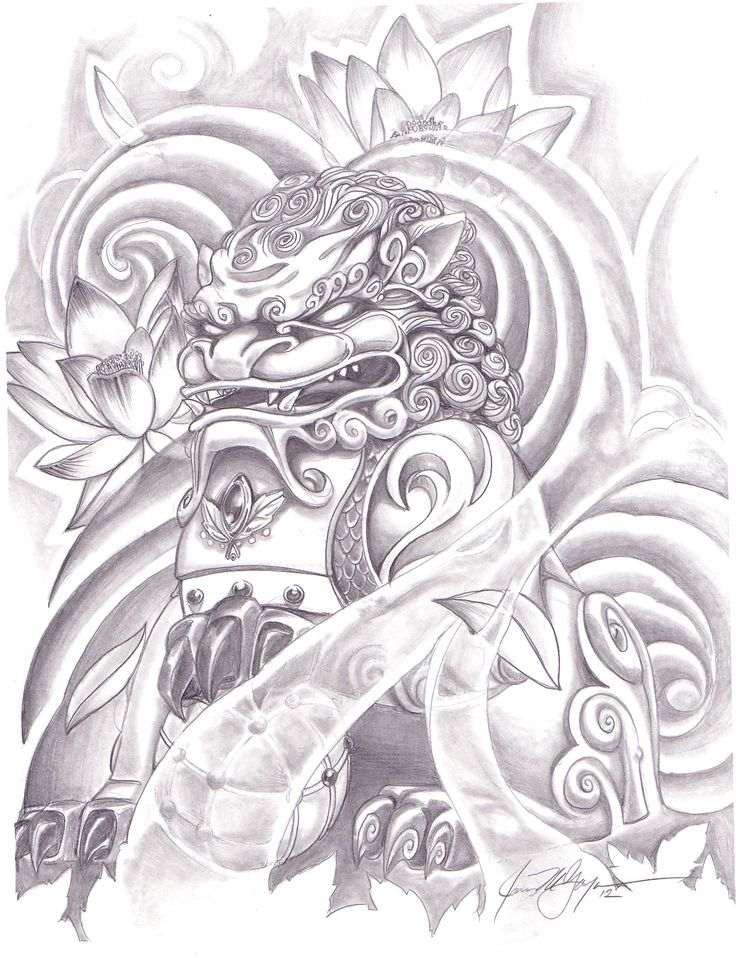 Classic Grey Ink Foo Dog With Lotus Flowers Tattoo Design