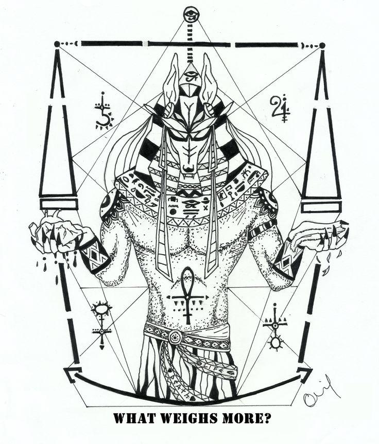 Unique Black Anubis Tattoo Design