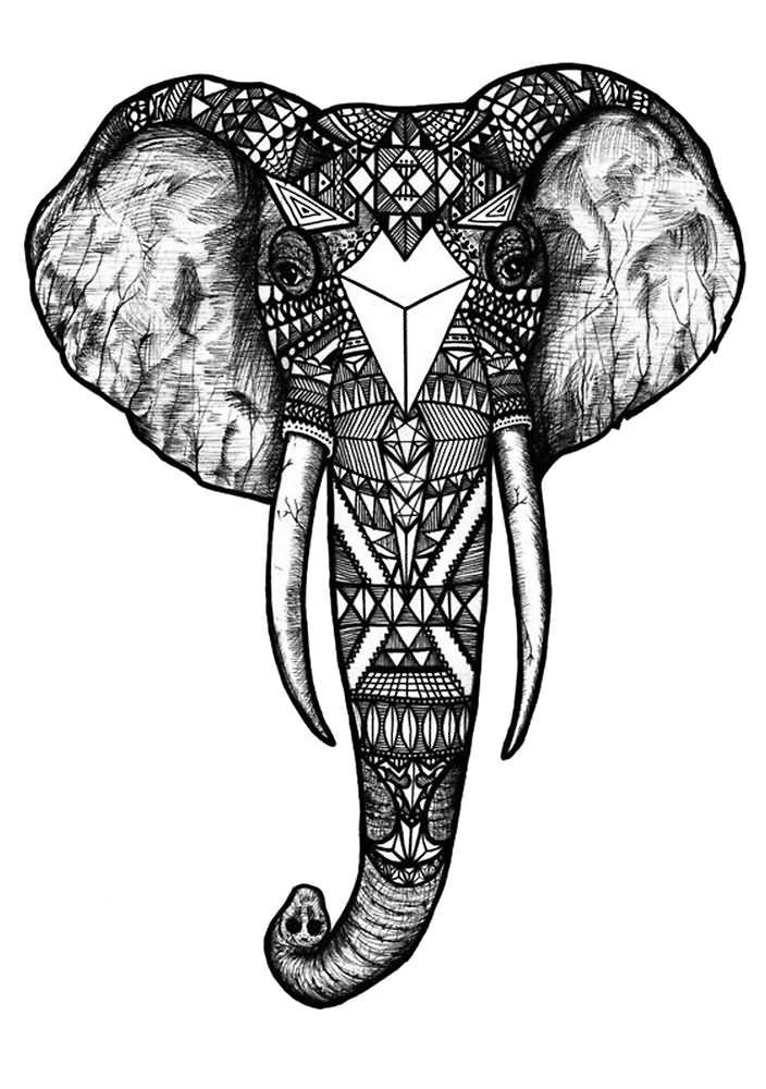 Cute Nail Arts Wallpaper Geometric Elephant Head Tattoo Design