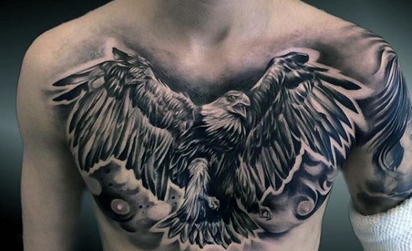 Realistic Grey Ink Flying Eagle Chest Tattoo