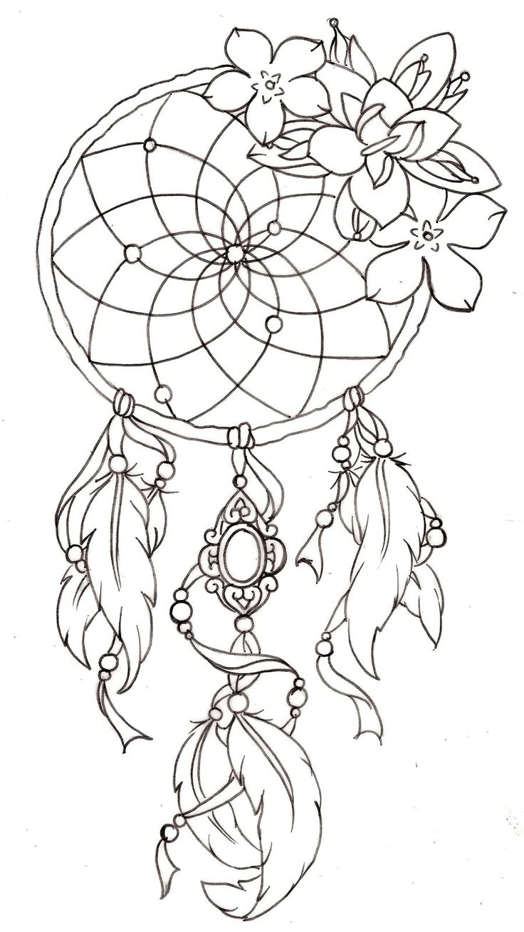 Outline Flowers And Dreamcatcher Tattoo Design