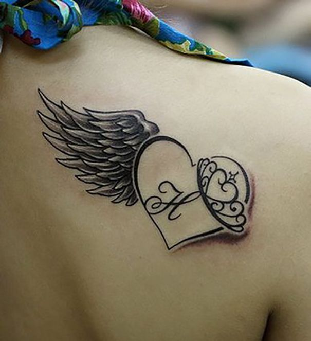 Letter P With Heart Tattoo Designs