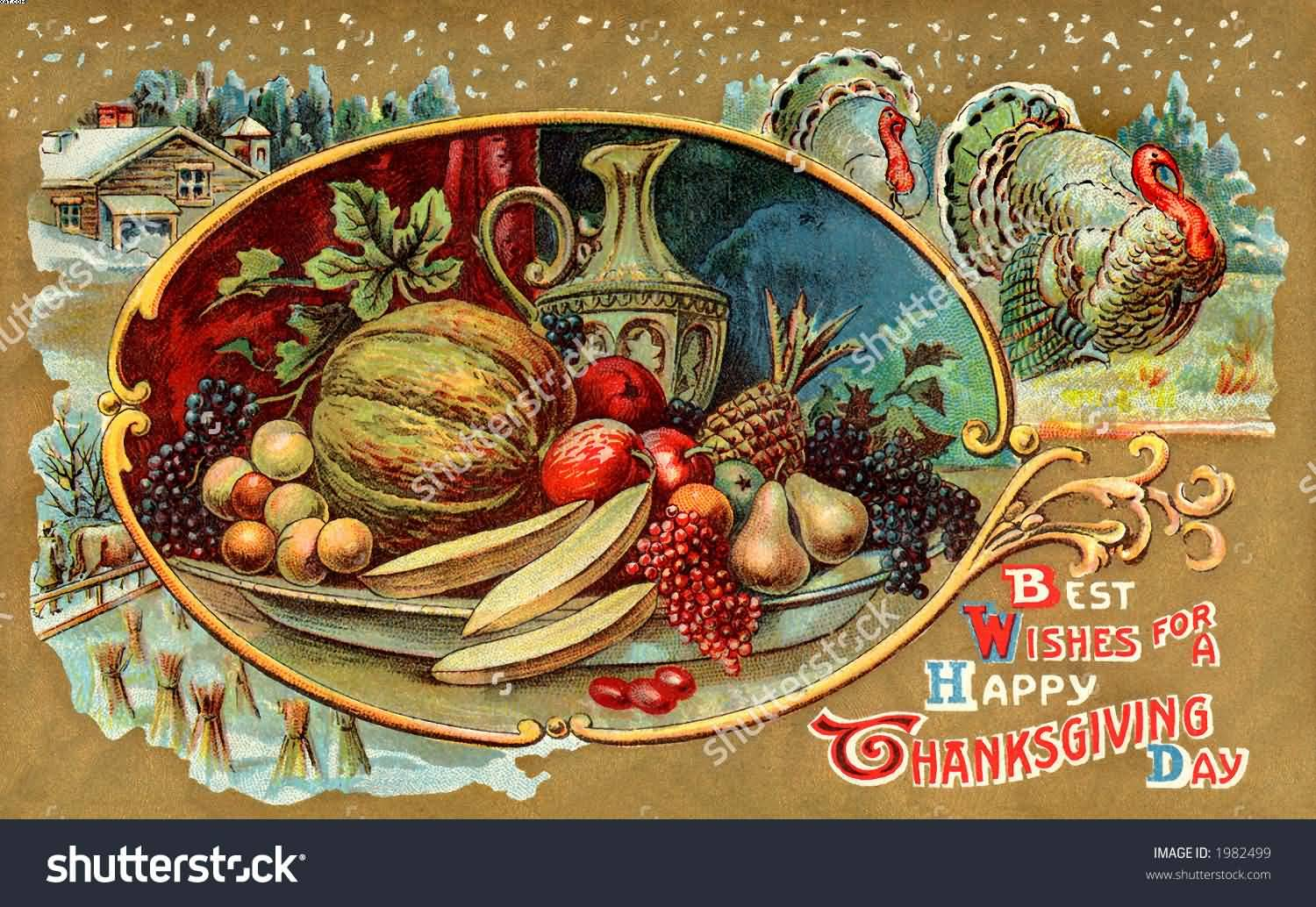 Best Wishes For A Happy Thanksgiving Day Ornate