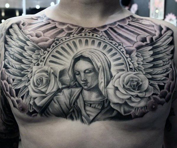 20 For Chest Tattoos Wings Roses Ideas And Designs