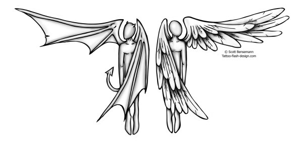 20 Half Angel Half Demon Wing Tattoos For Men Ideas And Designs