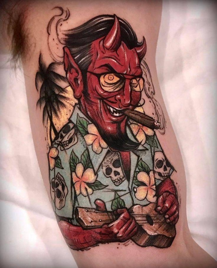 Traditional Satanic Tattoo Flash