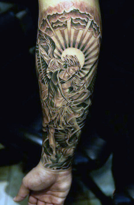 Male Warrior Angel Tattoo Designs