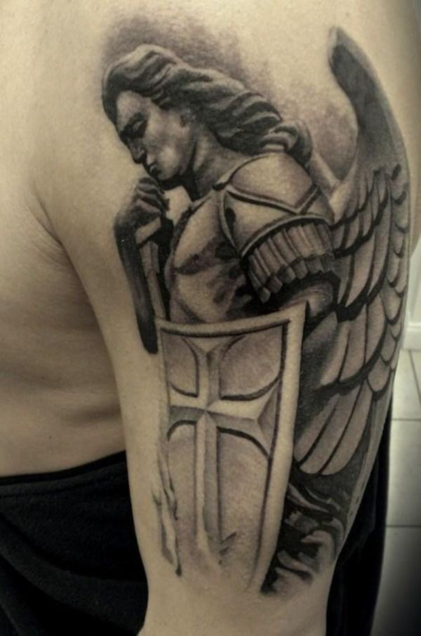 49556bc33 Custom Celtic Sword Cross Shield Enoki Soju. Remarkable Guardian Angel  Tattoo Ideas & Design With