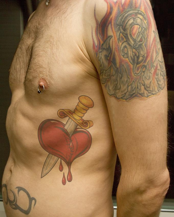 Broken Heart Tattoo On Chest