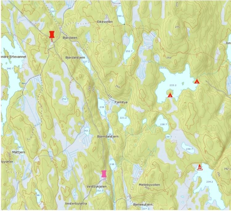 Kart over Trømborgfjella, Patruljetur Høst 2017