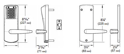 Kaba E-Plex E2000 Series E2031XS-LL Cylindrical, Schlage