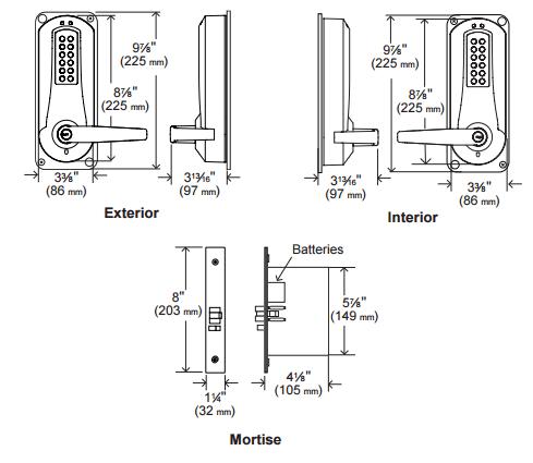 Kaba E-Plex E5086 Series E5086XSWL 1-1/4