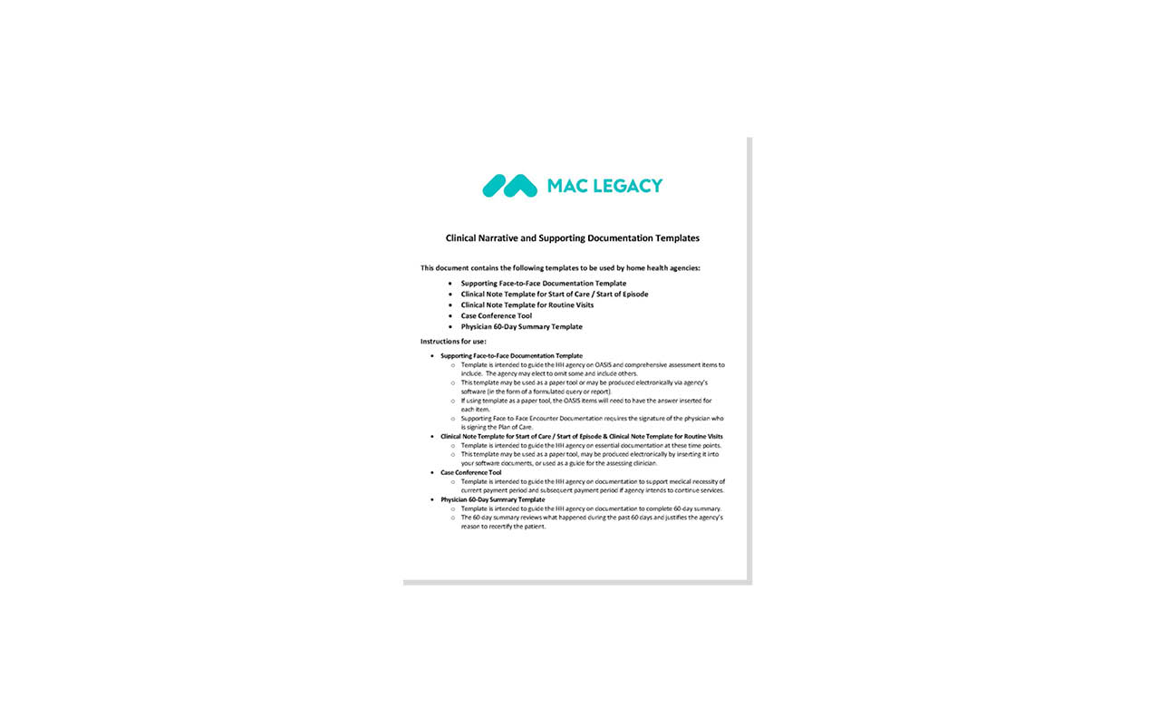 MAC Legacy Clinical Narrative and Supporting Documentation