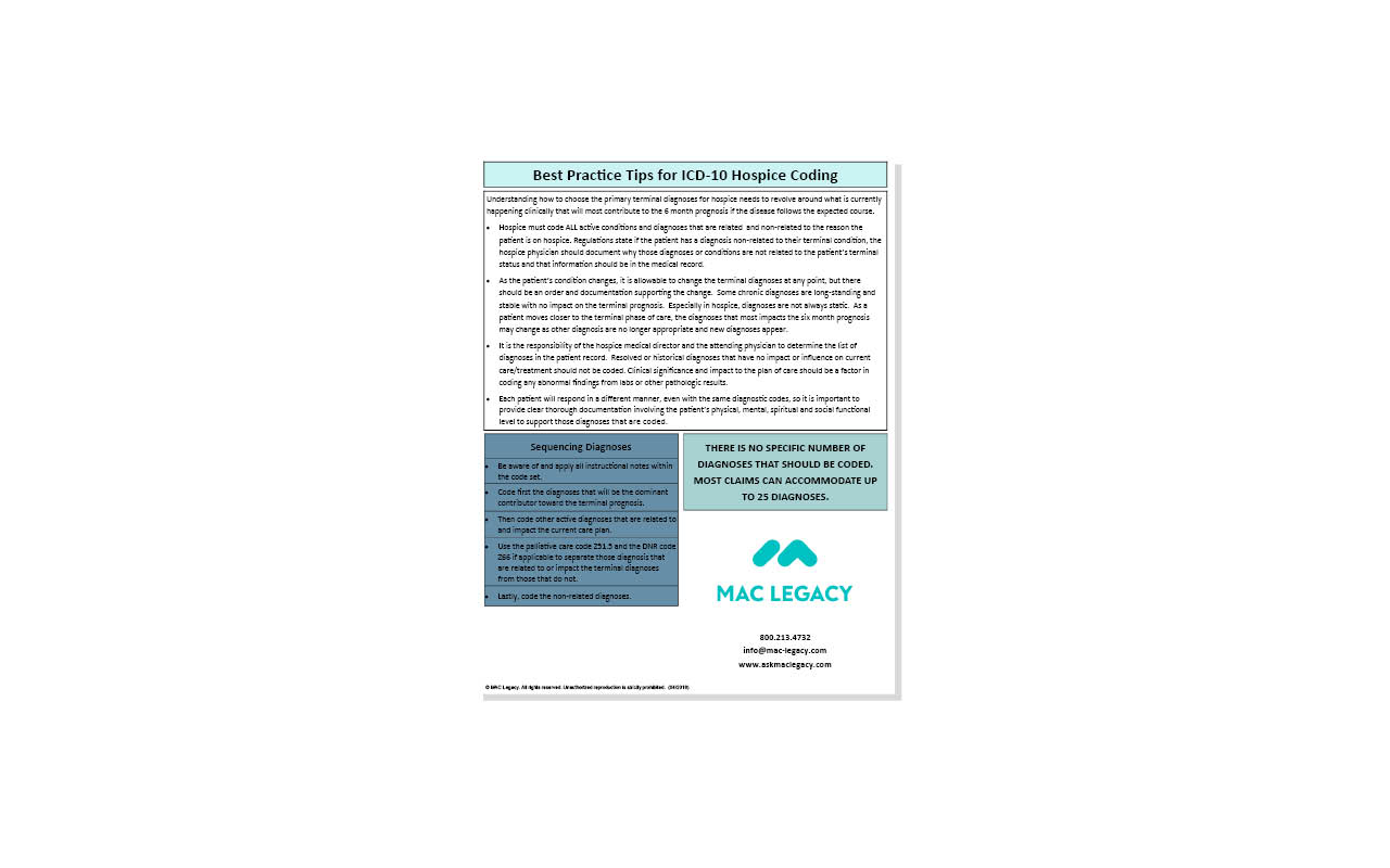 Mac Legacy Best Practice Tips For Icd 10 Hospice Coding