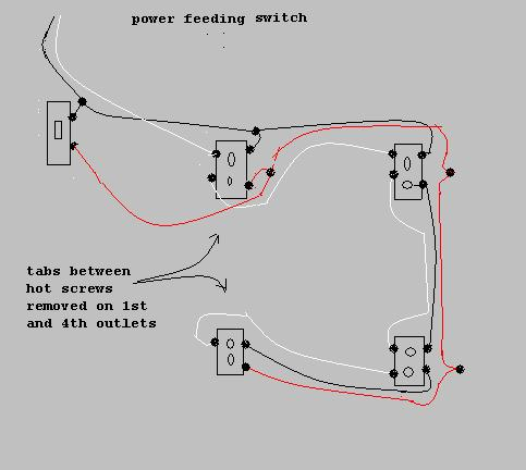 Wiring for a switch at the beginning of a run.