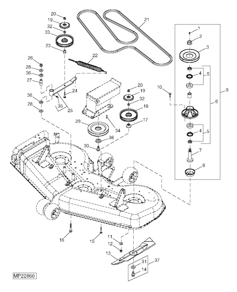 Cub Cadet 1045 Mower Deck Belt Diagrams