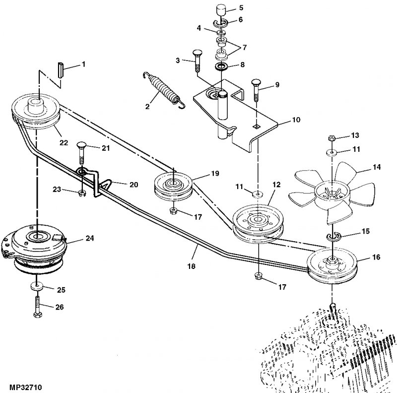 BELT DIAGRAM FOR JOHN DEERE L100