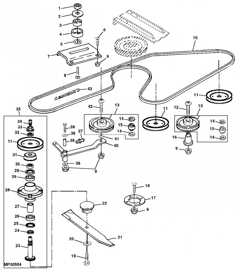 Diagram to install belt on john deere 54