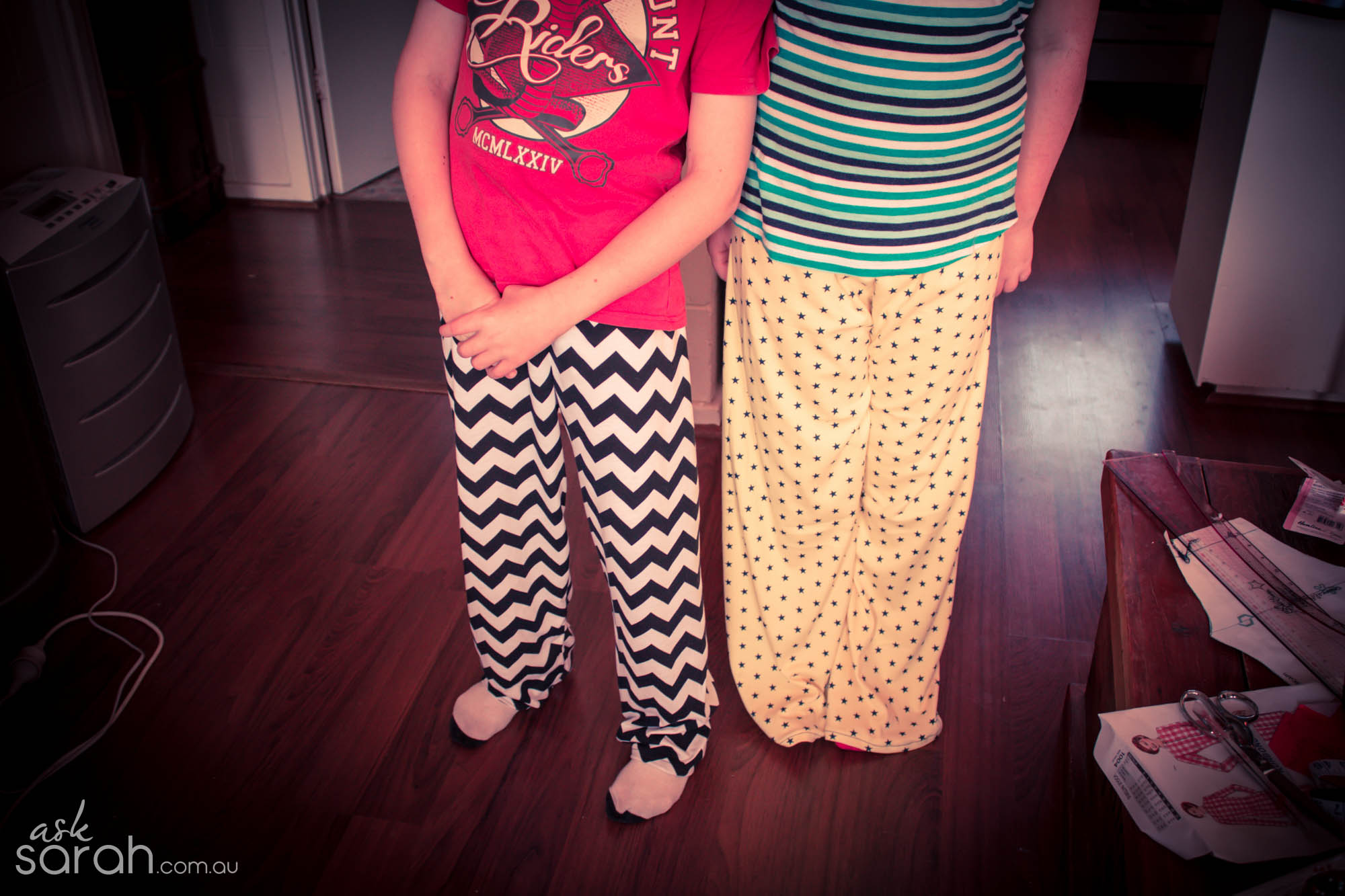 Sew: DIY Pyjama Pant Party! {Sewing with Kids & link to pattern making tutorial included}