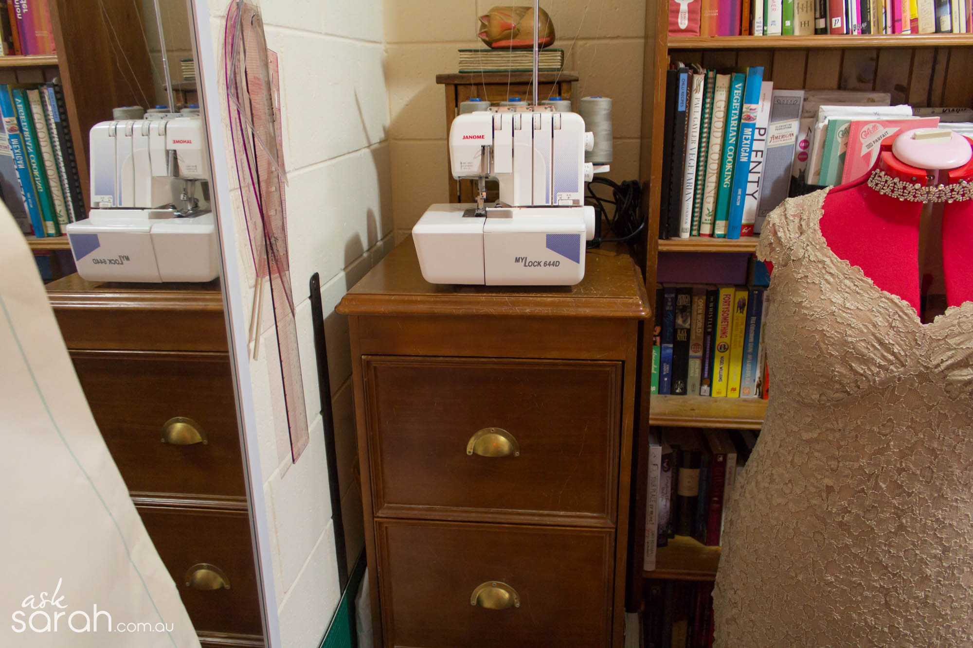 Small Space Sewing Room Makeover {Storage Tips for Fabric, Thread & Patterns}