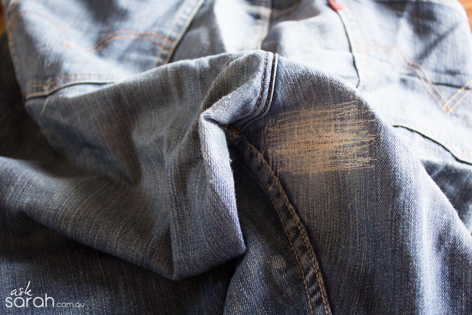 Sew: Mend Your Jeans {Fixing a hole in the thigh/butt or anywhere!}