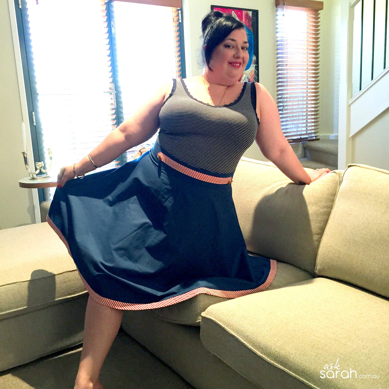 Sew: A Nautical Bias Skirt Tutorial {Half Circle Skirt w Bias Hem & Button Tab}