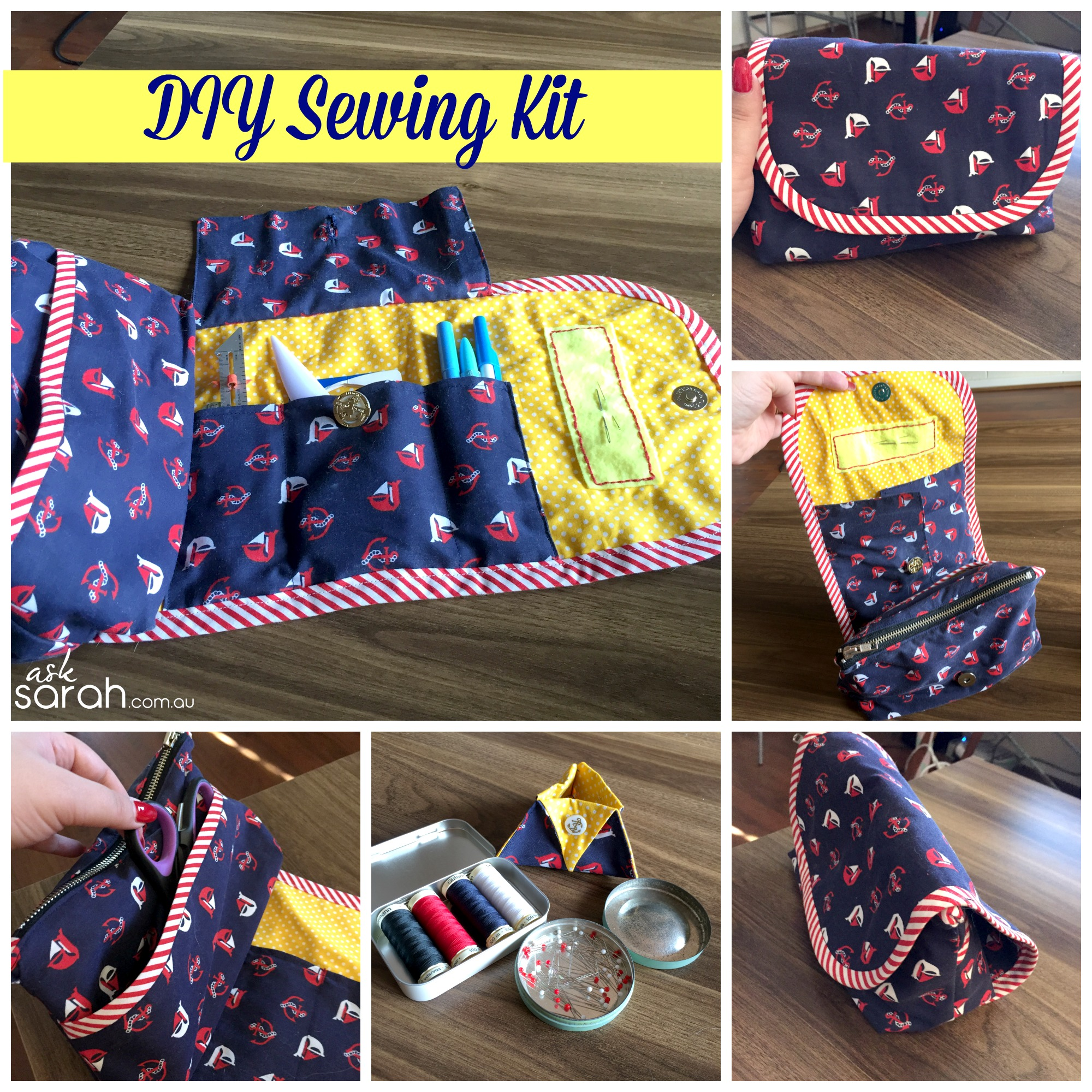 Sew: DIY Portable Sewing Kit/Caddy/Organizer {Sort of a Tutorial Plus Link To Free Base Pattern}