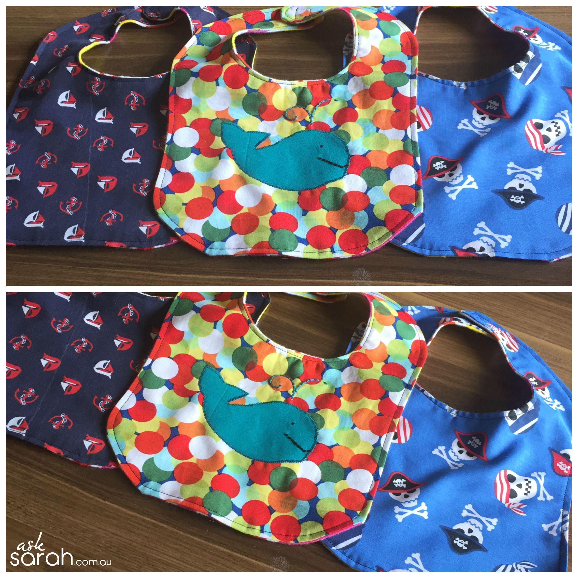 Sew: Bright, Nautical Baby Bibs {Link to Free Pattern Included}