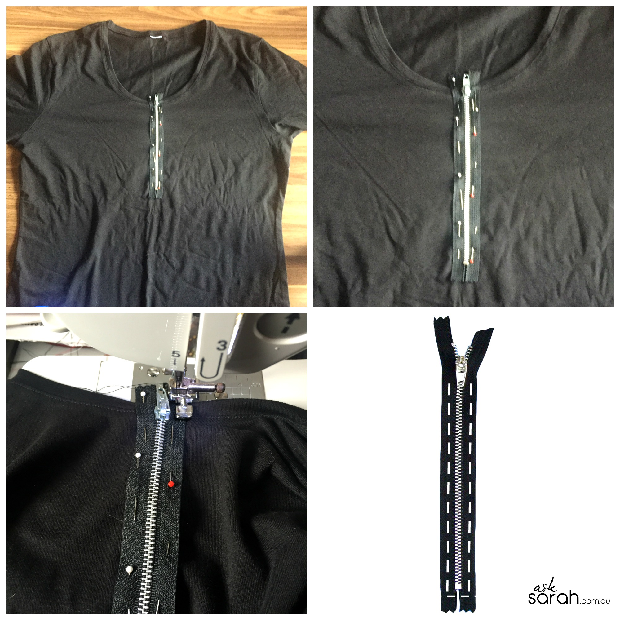 Sew: DIY Functional Exposed Zipper Tee {A 15 Min T-Shirt Makeover}