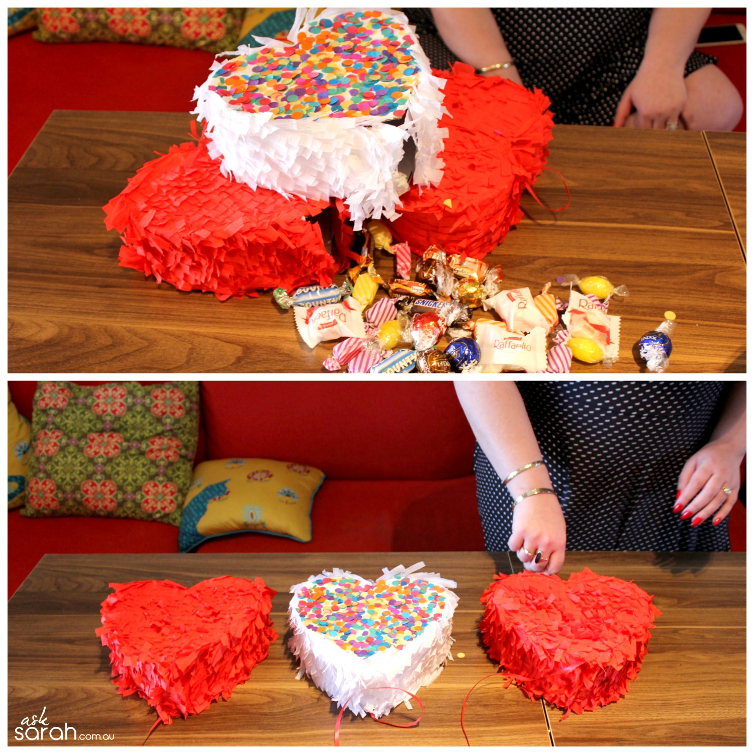 Make DIY Heart Shaped Pull Pinata Tutorial {Happy Valentines!} - Three