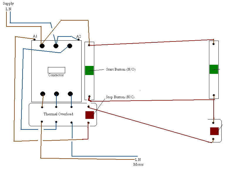 Single phase contactor wiring diagram for Single phase reversing motor starter