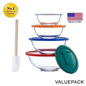 Pyrex Smart Essentials 8-Piece Mixing Bowl Set With Free Bakers Secret Spatula (Bundle)