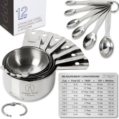 Indigo True Company Stainless Steel Measuring Cups and Spoons