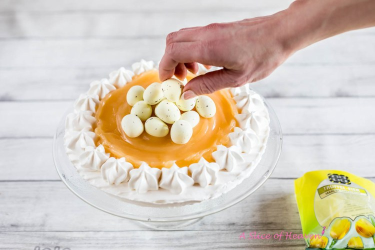 Placing white chocolate eggs | A Slice of Heaven