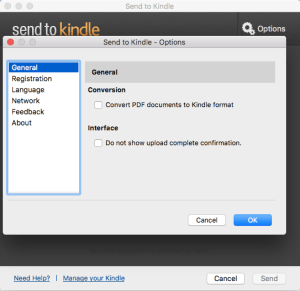 Send to Kindle converts PDFs to mobi files