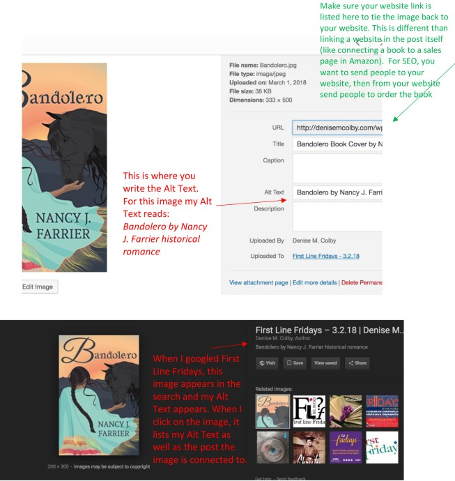 Alt Text Search Example for blog post Image and how it appears in search by Denise M. Colby